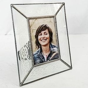 """Lace glass frame for 4x6 """" photo shabby chic look"""